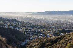 Burbank California Smoggy Hilltop View Royalty Free Stock Images