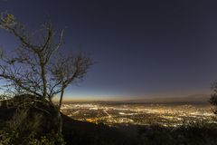Burbank natt Mountain View Arkivbilder