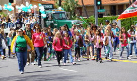 Burbank On Parade. Group of Girls Scout passing by during the annual Burbank on Parade, Burbank CA 4/14/20012 Stock Images