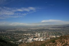 Burbank Peak Panorama. Panoramic view of L.A. from Burbank Peak, Hollywood Hills, CA Stock Images