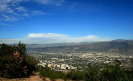 Burbank Peak Panorama. Panoramic view of L.A. from Burbank Peak, Hollywood Hills, CA Stock Photography
