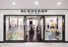 Burberry childrens clothing in Ocean Terminal, Hong Kong Royalty Free Stock Photo