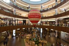 Burberry promotion in Dubai Mall, United Arab Emirates. The Dubai Mall is the largest mall in the world by total area Stock Image