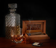 Burbon and Cigar Stock Images