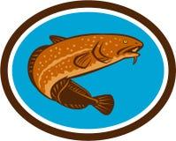 Burbot Fish Oval Retro Stock Photo