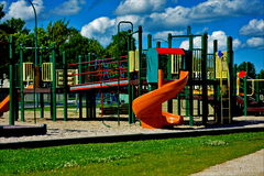 Burbscape the Places we Play. Abstract presentation of suburban community play structure for children Stock Photos