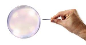 Burbuja alrededor a estallar por una aguja Imagen de archivo libre de regalías