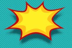 Burbuja amarilla de la explosión del fondo del cómic stock de ilustración