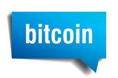 Burbuja azul del discurso 3d de Bitcoin Fotografía de archivo libre de regalías