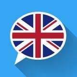 Burbuja blanca del discurso con la bandera de Gran Bretaña Imagen de archivo