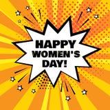 Burbuja blanca del discurso con la palabra del día de las mujeres felices en fondo anaranjado Efectos sonoros cómicos en estilo d stock de ilustración