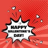 Burbuja blanca del discurso con la palabra feliz del día de tarjeta del día de San Valentín en fondo rojo Efectos sonoros cómicos ilustración del vector