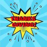 Burbuja cómica amarilla con palabra de la ACCIÓN DE GRACIAS en fondo azul Efectos sonoros c?micos en estilo del arte pop Ilustrac libre illustration