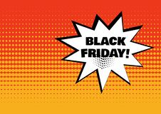 Burbuja cómica blanca con la palabra de BLACK FRIDAY en fondo anaranjado en estilo del arte pop Vector stock de ilustración