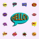 Burbuja cómica del discurso con el icono del hellio del texto de la expresión sistema universal de los iconos cómicos para la  libre illustration
