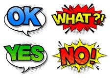 Burbuja cómica del discurso con el texto de la expresión sí, no, aceptable, qué Vector Imagen de archivo