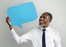 Burbuja Co del discurso del espacio de Communication Connection Copy del hombre de negocios Imagen de archivo libre de regalías