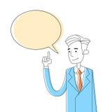 Burbuja de la caja de Point Finger Chat del hombre de negocios Imagenes de archivo