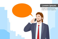 Burbuja de la charla de Smart Phone Talk del hombre de negocios Imagenes de archivo