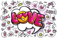 Burbuja de la palabra del amor stock de ilustración