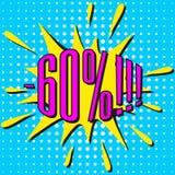 Burbuja de la venta del discurso con el texto -60% Foto de archivo libre de regalías