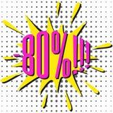 Burbuja de la venta del discurso con el texto -80% Imagen de archivo