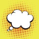 Burbuja de los pensamientos en el estallido Art Comics Style Plantilla amarillo-naranja del vector del color Fotografía de archivo