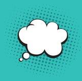 Burbuja de los pensamientos en el estallido Art Comics Style Tosca Green Color Vector Template stock de ilustración