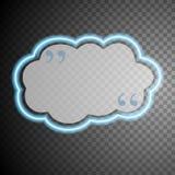 Burbuja de neón del discurso de la nube del resplandor azul stock de ilustración