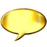 burbuja de oro del discurso 3D Imágenes de archivo libres de regalías