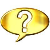 burbuja de oro del discurso 3d con el signo de interrogación Imagenes de archivo