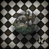 Burbuja del bucle temporal de Steampunk en fondo a cuadros Imagen de archivo