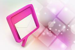 Burbuja del discurso con el correo Imágenes de archivo libres de regalías