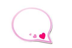 Burbuja del discurso con los corazones rosados y la frontera aislados en el fondo blanco Copie el espacio Imagen de archivo libre de regalías