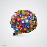 Burbuja del discurso con muchos iconos del uso. stock de ilustración