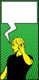 Burbuja del discurso de Art Man Making Urgent Call del estallido Imagen de archivo libre de regalías