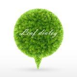 Burbuja del discurso de hojas verdes stock de ilustración
