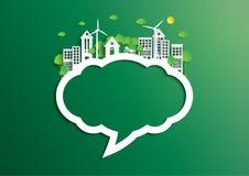 Burbuja del discurso de la ciudad verde de la pocilga del arte del papel de concepto del ambiente ilustración del vector