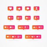 Burbuja del discurso de Tooltip del vector como, a diferencia de, seguidor, comentario, notificación, corazón, sistema del icono  ilustración del vector