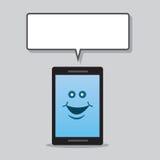 Burbuja del discurso del carácter del teléfono Imagenes de archivo