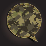 Burbuja del discurso del vector del modelo de la tela del camuflaje Imagenes de archivo