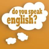 Burbuja del pensamiento con usted habla inglés Imágenes de archivo libres de regalías