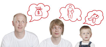 Burbuja del pensamiento, tres personas Imagen de archivo libre de regalías