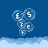 Burbuja del símbolo de moneda en la nube Fotografía de archivo libre de regalías