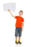 Burbuja del texto del muchacho Foto de archivo libre de regalías