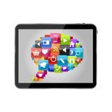 Burbuja determinada del discurso del icono de cristal del botón en concepto del Tablet PC. Vecto Imagen de archivo libre de regalías