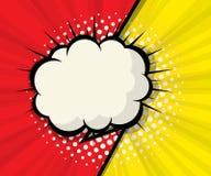 Burbuja en blanco abstracta del discurso con el fondo rojo y amarillo stock de ilustración