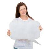Burbuja en blanco del texto de la muchacha Fotografía de archivo libre de regalías