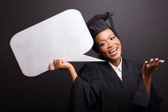 Burbuja graduada del discurso que se sostiene Fotos de archivo