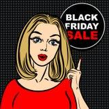 Burbuja negra de la venta de viernes y mujer del arte pop para señalar el finger Imagen de archivo libre de regalías